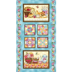 Peaceful Pastimes Kitten Kitchen Quilt Blocks 24x44 Fabric Panel
