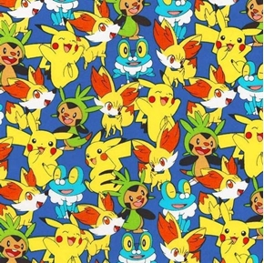 Nintendo Pokemon Pikachu Friends Froakie Fennekin Cotton Fabric
