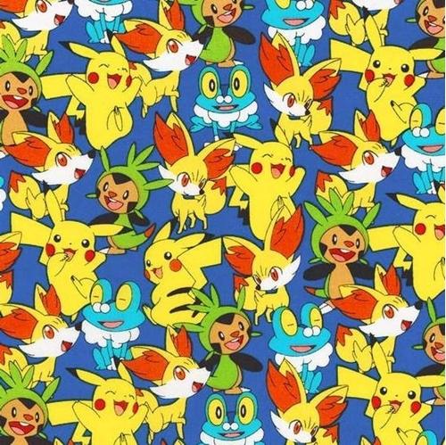 Nintendo Pokemon Pikachu Friends Froakie Fennekin Cotton Fabric
