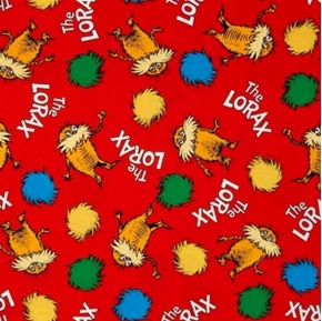 Dr Seuss The Lorax Truffula Tree Puff Red Cotton Fabric
