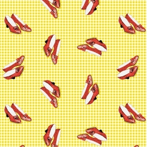 The Wizard of Oz Ruby Slippers Yellow Checks Cotton Fabric