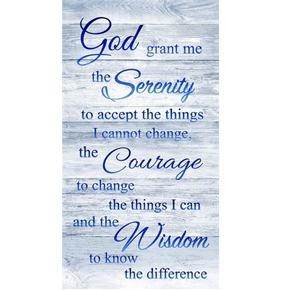 Serenity Prayer God Grant Me the Strength 24x44 Cotton Fabric Panel