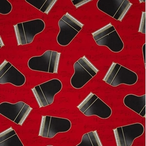 In Tune Metallic Piano Grand Pianos on Red Music Score Cotton Fabric