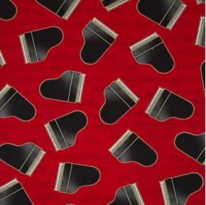 In Tune Metallic Piano Grand Pianos on Red Music Score Cotton Fabric