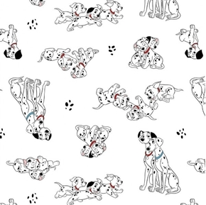 Disney 101 Dalmatians Family Portrait Pongo Perdy White Cotton Fabric