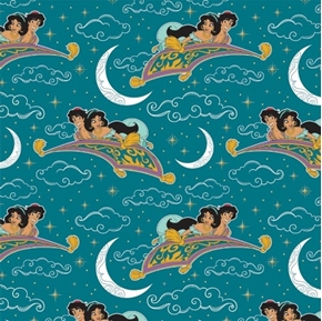 Disney Aladdin Movie Magic Carpet Ride Metallic Teal Cotton Fabric