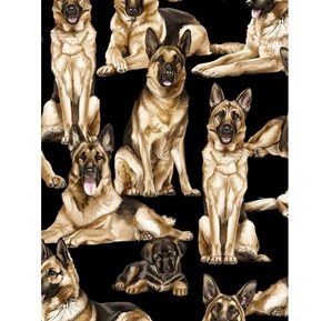 German Shepherds German Shepherd Dogs Dog Cotton Fabric