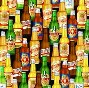 Packed Beer Bottles Mexican Beers Brew Cotton Fabric