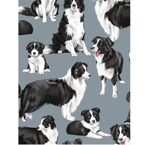 Border Collies Collie Dogs Black and White Herding Dog Cotton Fabric