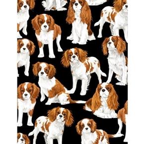 King Charles Spaniels Spaniel Dogs Cute Dog Cotton Fabric