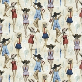 Picture of Coastal Breeze Beach Beauties Women in Suits and Hats Cotton Fabric