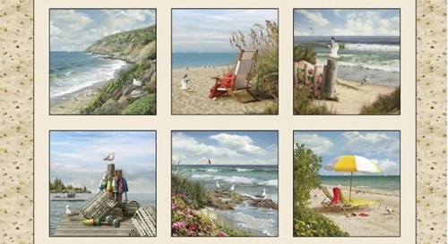 Coastal Dreams Beach Life Shore Birds Shells 24x44 Cotton Fabric Panel