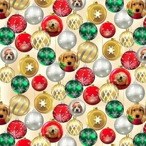 Picture of Fireside Pups Glass Christmas Ornaments Puppies Dogs Cotton Fabric