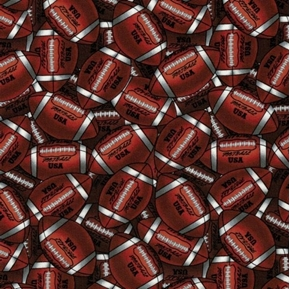 Picture of Go Team Go Packed Footballs Brown Football USA Cotton Fabric