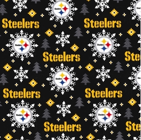 Picture of Flannel NFL Football Pittsburgh Steelers Snowflake Cotton Fabric