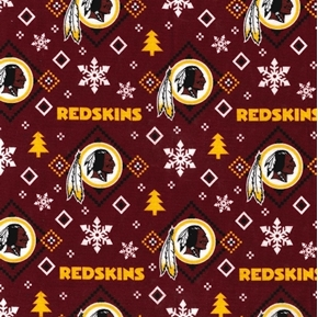 Flannel NFL Football Washington Redskins Snowflake Cotton Fabric