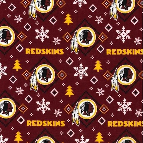 Flannel NFL Football Washington Redskins Snowflake Cotton Fabric