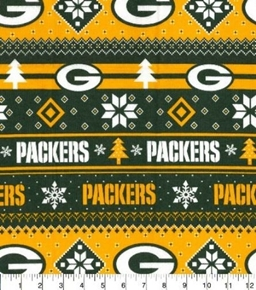 Flannel NFL Football Green Bay Packers Snowflake Cotton Fabric