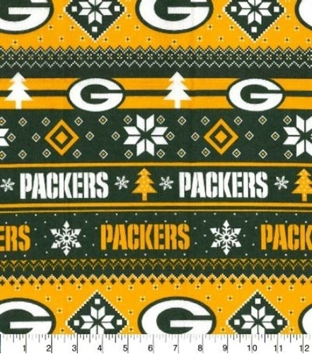 Cotton Fabric Sports Fabric Flannel Nfl Football Green Bay Packers Snowflake 4my3boyz Fabric