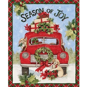 Season of Joy Red Truck Labrador Pups Susan Winget Cotton Fabric Panel