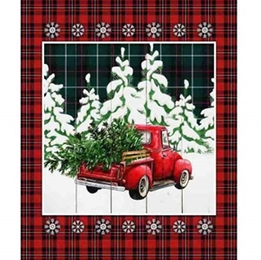 Over the River Red Truck Red Plaid Snowy Christmas Cotton Fabric Panel