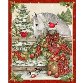 Picture of Horse and Cardinal Christmas Holiday Susan Winget Cotton Fabric Panel