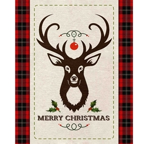 Merry Deer Christmas Holiday Red Plaid Large Cotton Fabric Panel
