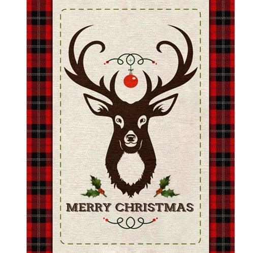 Picture of Merry Deer Christmas Holiday Red Plaid Large Cotton Fabric Panel