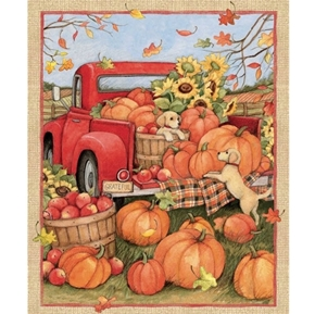 Picture of Harvest Red Truck Pumpkins and Puppies Autumn Cotton Fabric Panel