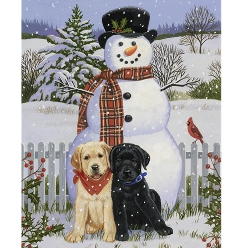 Picture of Snowman and Friends Labrador Puppy Large Digital Cotton Fabric Panel