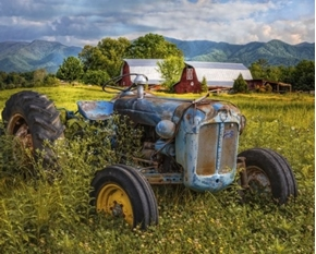 Picture of Old Blue Tractor and Barn on the Farm Digital Cotton Fabric Panel