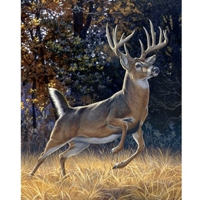 Startled Whitetail Buck Leaping Deer Large Digital Cotton Fabric Panel