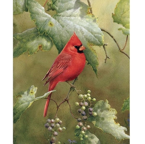 Picture of Red Cardinal in the Orchard Bird Berries Digital Cotton Fabric Panel