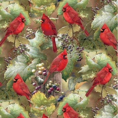 Picture of Red Cardinals in the Orchard Scenic Digitally Printed Cotton Fabric