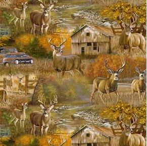 Fall Country Deer Scenic Old Truck Digital Cotton Fabric