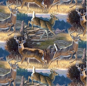 Whitetail Deer Scenic Woodland Bucks Digitally Printed Cotton Fabric