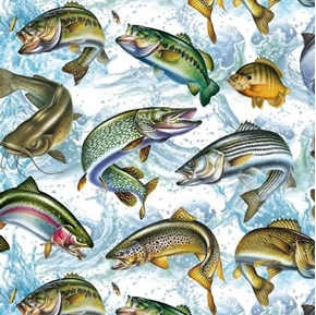 Freshwater Fish Trout Bass Catfish Digitally Printed Cotton Fabric