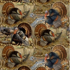 Wild Turkeys Tom Turkey Hens Gobblers Digitally Printed Cotton Fabric