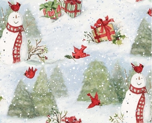 Picture of Snowman and Cardinal Scenic Snowy Christmas Holiday Cotton Fabric