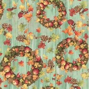 Picture of Harvest Fall Wreath Toss Wreaths Apples Wood Siding Cotton Fabric