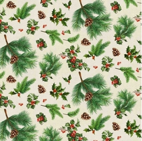 Merry Deer Holly Christmas Pine Boughs Holiday Greens Cotton Fabric