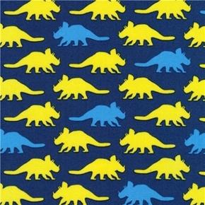 Prehistoric Pals Dinosaurs Triceratops Dinosaur Blue Cotton Fabric