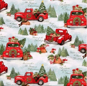 Picture of Home for Christmas Red Truck Scenic Susan Winget Cotton Fabric