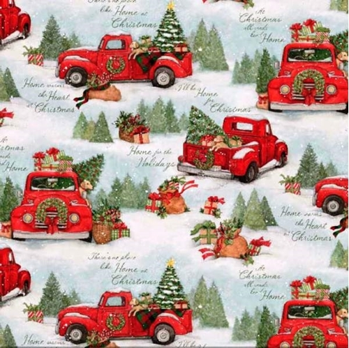 Christmas Red Truck.Home For Christmas Red Truck Scenic Susan Winget Cotton Fabric