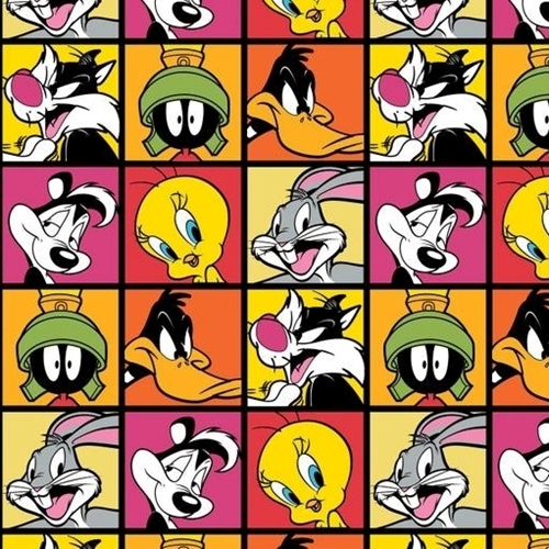 Picture of Looney Tunes Character Blocks Tweety Pepe Porky Ruby Red Cotton Fabric