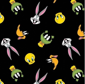 Picture of Looney Tunes Tossed Faces Bugs Porky Tweety Speedy Black Cotton Fabric