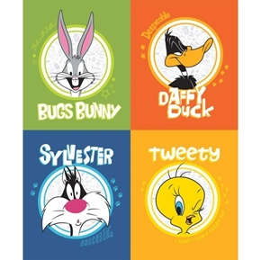 Picture of Looney Tunes Bugs Tweety Sylvester Daffy Duck Fabric Pillow Panel Set