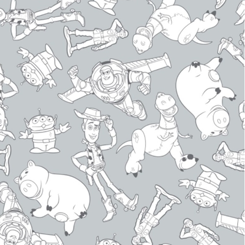 Picture of Disney Toy Story Character Outline Woody Buzz Pixar Grey Cotton Fabric