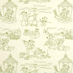 Yogi Bear Line Art Scenic Toile Hanna-Barbera Green Cotton Fabric