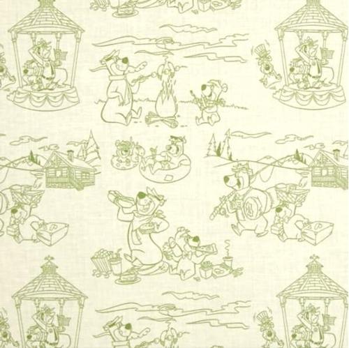 Picture of Yogi Bear Line Art Scenic Toile Hanna-Barbera Green Cotton Fabric
